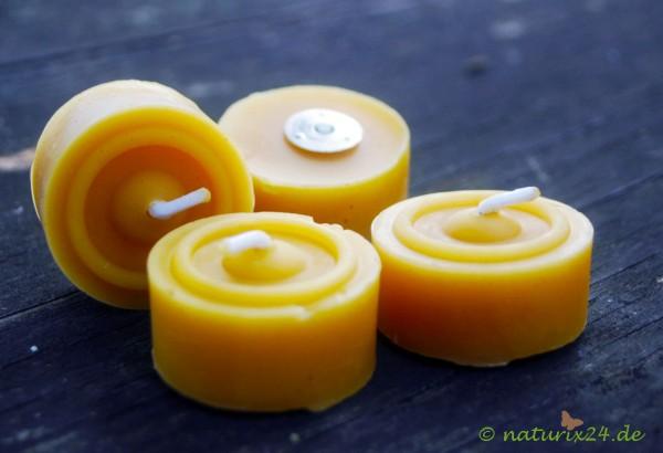 Teelichter aus Bienenwachs ohne Aluschale